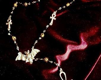 Vampyr Ankh Rosary - Occult vamp goth ankh beads bat gothic vampire vampiric