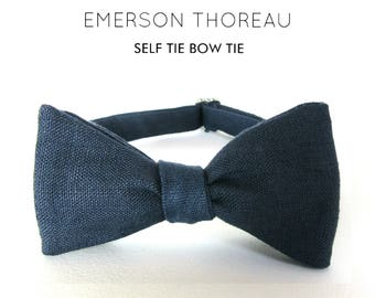 Navy Blue Linen Bow Tie / Self Tie Bowtie Indigo Blue Solid Natural Fibers Vegan Groomsmen Spring Wedding Custom Order Freestyle Adjustable