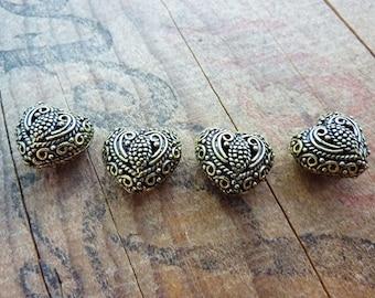 Metal Bead Antiqued Gold Filigree Heart Beads Ornate Heart Antiqued Brass Color (2) IG410