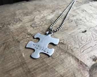 Puzzle Necklace Personalized Stainless Steel Puzzle Necklace Keychain Men's Necklace Custom Autism puzzle Piece necklace
