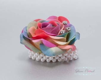 Child's Wrist Corsage. Small Rainbow Rose w. rhinestones, pearls.  Flower girl bracelet. Father Daughter Dance. Tea Rose Collection
