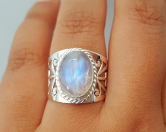 Genuine Moonstone Ring - Boho Ring - Gypsy Ring - Tribal Ring - Sterling Silver Moonstone Jewelry - Tibetan Nepal Jewelry