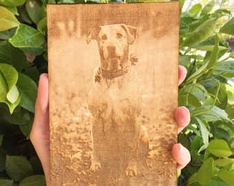 Laser engraved photo on wood, laser engraved portrait, laser engraved photograph, Pet loss Memorial gift, brithday gift, anniversary