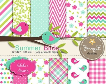 50% OFF Birds Digital papers and Clipart, Tree Branch, Flowers, Baby Shower Birthday Summer Birds Scrapbooking Paper Party Theme, Fuchsia Tu