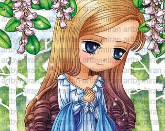 Digital Stamps-Missing you(#34), Digi stamp, Big Eye Doll Coloring Page,  Instant Download Line Art for Card