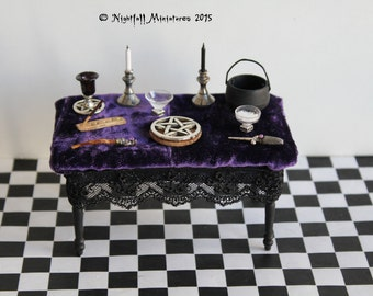 Dollhouse Miniature Pagan Wicca Witchcraft Altar Table in 1:12 made to order