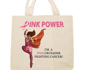 Pink Crusader Breast Cancer Awareness Tote Bag Design 3