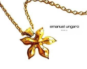 UNGARO ~ Authentic Vintage Gold Plated Maple Leaf Pendant Necklace/Chain