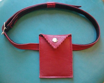 1960's Inspired- Bond Girl-The Naughty Jenna Red Leather Garter Pouch with Belt-Made entirely of new leather