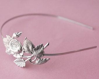 Rose bridal headband vintage style silver finish antique floral bridesmaid hair accessory wedding garden Victorian