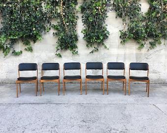 6 Mid Century Danish Teak Dining Chairs by Erik Buck, Model 49