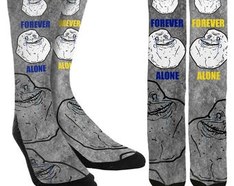 Forever Alone Crew Socks - Forever Alone - Novelty Socks - Unique Socks - Funny Socks - Funny Clothing - 100% Comfort - FREE Shipping I08