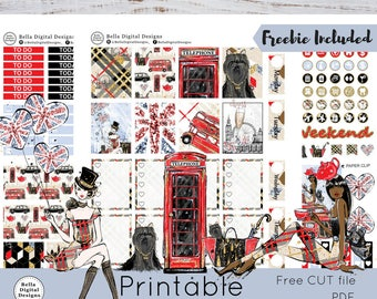 London Girl printable planner stickers. Erin Condren and Happy Planner weekly kit. Girls glitter glam chic telephone cabin fashion gold