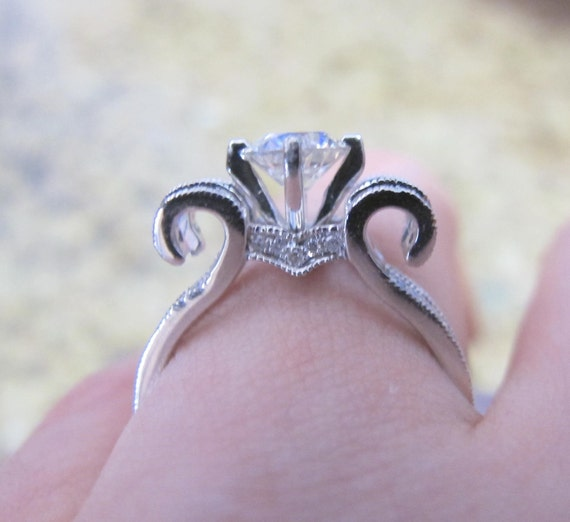 Diamond Engagement Ring Setting Compass Setting Scroll