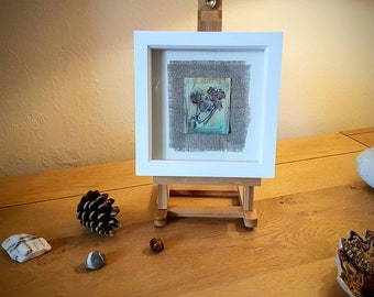 Hedgerow Visitor, original mixed media piece on paper teabag. Complete with white frame.