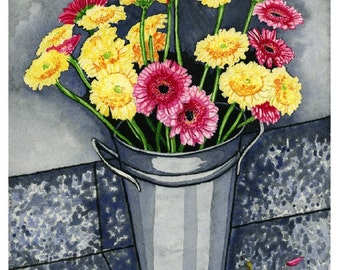 Daisy Bucket Watercolor Print