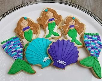12/Mermaid Birthday Cookies/Mermaid Party/Girl Birthday/Party Favor/Mermaid Tail/Seashell Cookies/Custom Cookies/Under the Sea