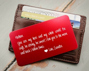 Personalized Wallet Card, Custom Wallet Insert: Valentine's Gift for Him, Anniversary, Wedding Vows, Stocking Stuffer, Deployment Gift
