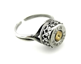 9mm luger ring - Crown Setting Ring - Victorian Bullet ring - 9mm Bullet Ring - Silver plated bullet ring - Steampunk adjustable Ring