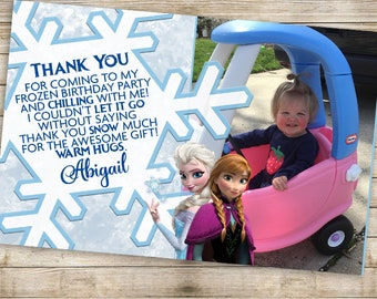 Frozen Birthday Party Thank You Card   Frozen Thank You   Customized Thank You Card