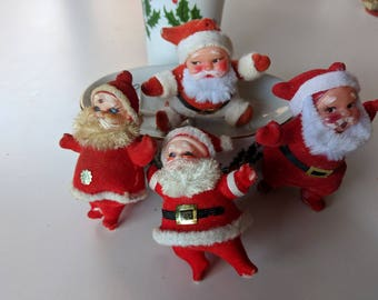 6, Vintage Santa Claus Christmas Tree Ornaments Made In Japan Midcentury Santa Holiday Tree Decor