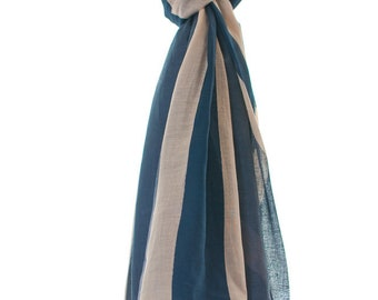 Union Jack Flag Cotton Summer Scarf Pattern, Blue Off White Scarf, 200cm by 80cm