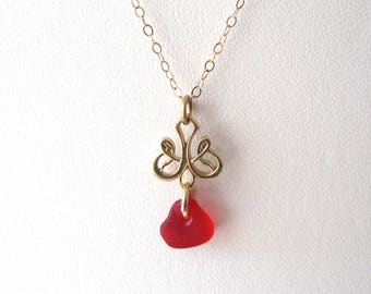 Real Red Sea Glass, Gold Sea Glass Necklace, Solid Gold, Genuine Sea Glass Necklace, 14k Solid Gold Necklace,