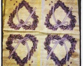Napkin Lavender heart 33 x 33 cm