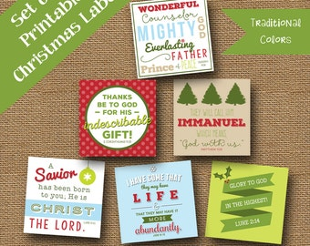 Printable Christmas Scripture Gift Tags | DIY PRINTABLE | Retro Christmas Tags | Bible Verse, Christian Package Labels | Traditional Colors