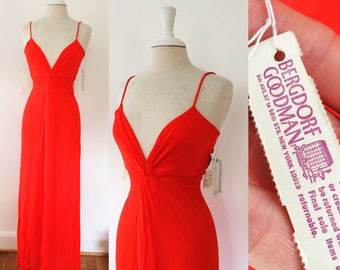 Vintage J. Tiktiner Bergdorf Goodman 1970s NWT red strappy dress