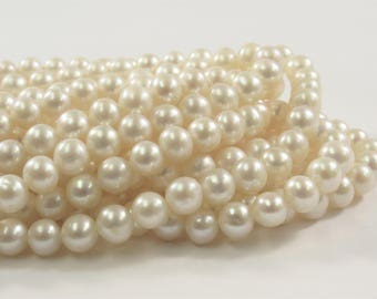 5.5-6mm AA Natural White  Semi Round Freshwater Pearls, Genuine Natural Pearl Beads, High Luster White Bridal Pearls (205-RW05506)