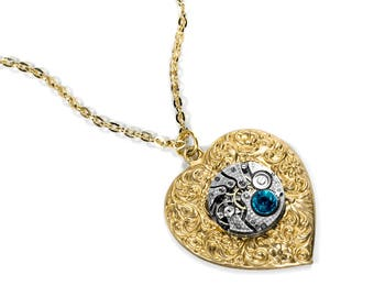 Steampunk Jewelry Necklace Gold Vintage Watch HEART, TURQUOISE Crystal, Wedding Anniversary Girlfriend Fiancee Bride - Jewelry by edmdesigns