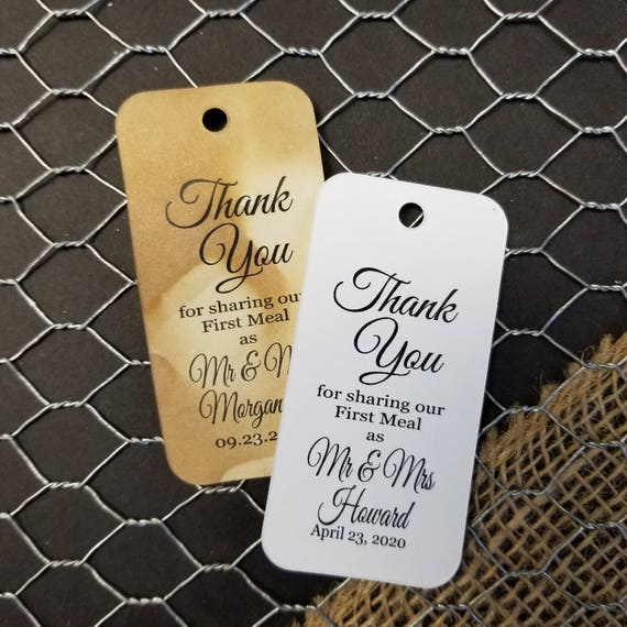 "Thank you for Sharing our First Meal as Mr and Mrs RECTANGLE 1.5"" x 3"" Personalized Wedding Favor Tag  choose your amount"