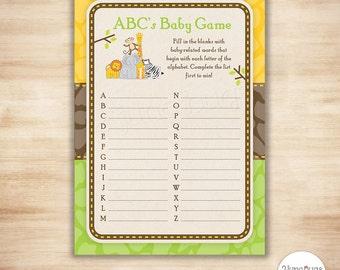 Safari baby ABCs Game Cards - Safari Boy Girl Baby Shower Game - Safari Animals, Jungle Animals, Zoo - PRiNTABLE, INSTANT DOWNLOAD