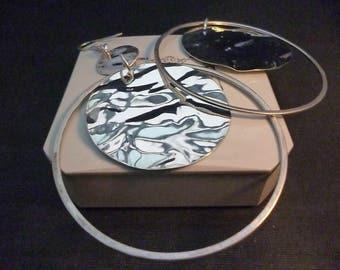 """Huge sterling silver hoop dangle earrings - 925 - Circular - Shiny - 3.6"""" x 2.6"""""""