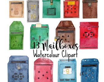 Handpainted Watercolour Hong Kong vintage mailboxes digital clipart set 300dpi ZIP file transparent individual pngs digital instant download