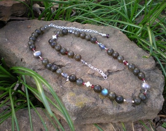 Star Shine beaded necklace, labradorite, garnet, pearls and sterling silver, one of a kind