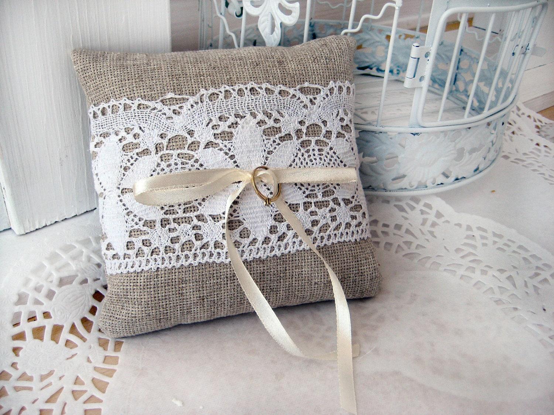 Lace rustic wedding pillow burlap wedding ring pillow ring