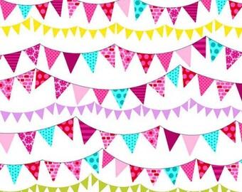 Pink and Aqua Pennant Flag Bunting Garland Fabric - Fat Quarter