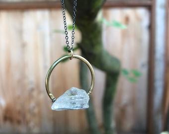 Herkimer Diamond Necklace, Gold horseshoe necklace, Gold Filled Necklace, Layering Necklace, Delicate Necklace
