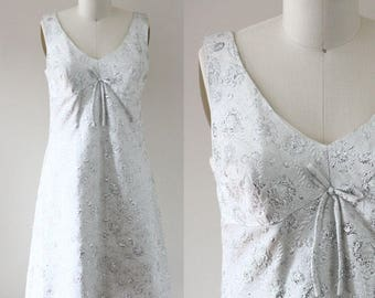 1960s silver brocade dress // silver floral dress // vintage dress