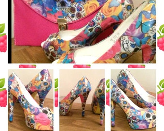 Sugar skulls and roses customised heels and bag set