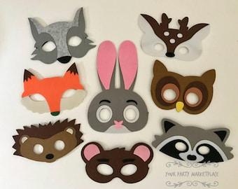 SET OF 8 Woodlands Party Masks, Woodlands Birthday, Woodlands Party Favors, Woodlands Party Decorations, Woodlands Party, Kids Animal Masks