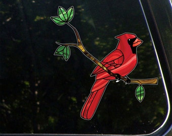 """CLR:CAR - Cardinal Bird Perched on Branch - Stained Glass Style Vinyl Car Decal ©YYDC (5.75""""w x 6""""h)"""