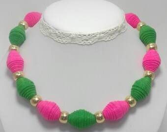 Felted necklace, Felt necklace, Felt beads necklace, Green,Pink, Purple felt necklace, Wool necklace, Women Necklace