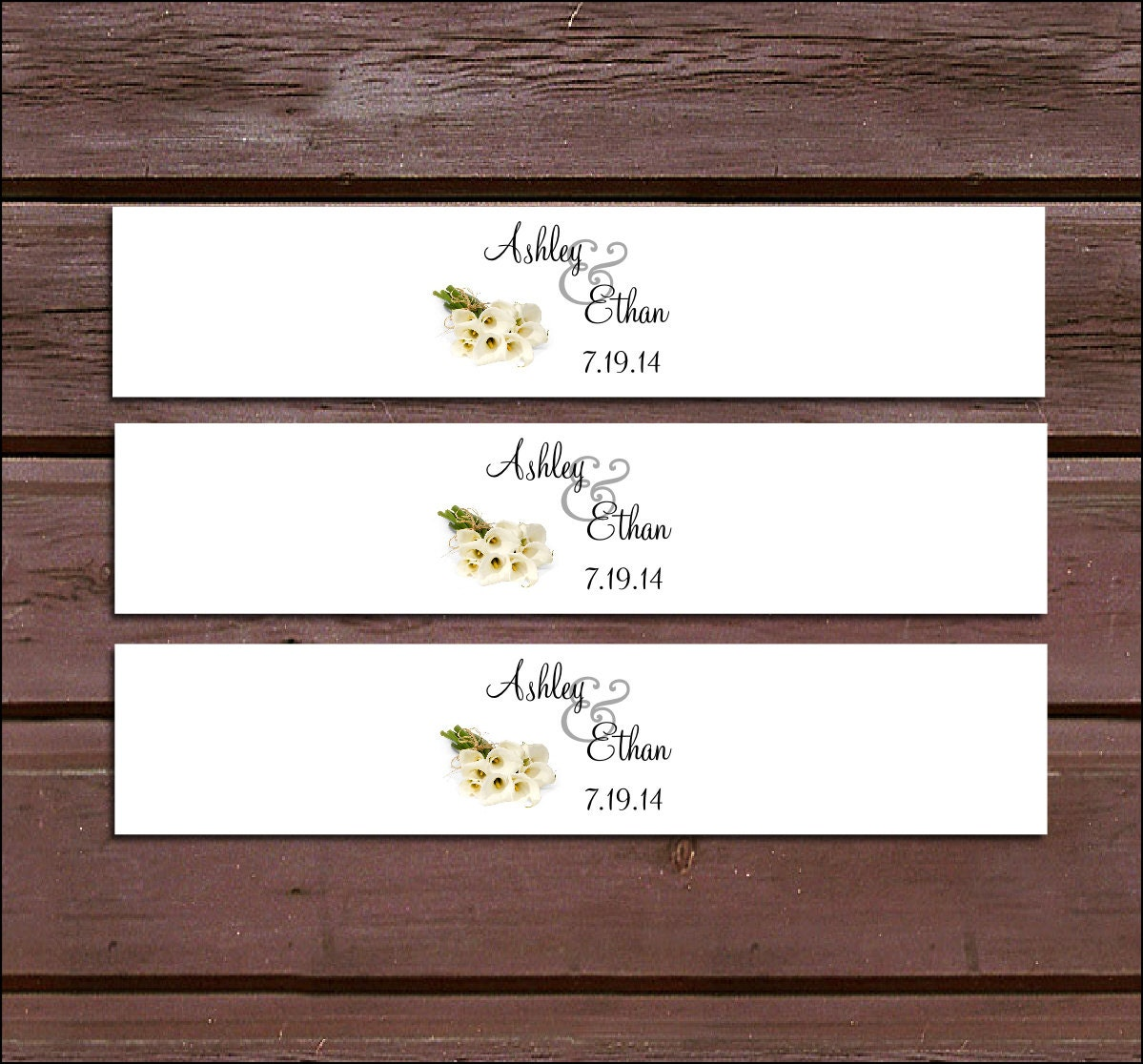 100 Calla Lily Wedding Invitation Belly Bands Wraps. Includes ...