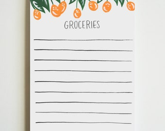 Grocery List Notepad | Illustrated Grocery Pad with Hand Lettering | Market List Pad