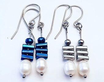 Metalikus Collection Pearl Stack Blue Silver Hematite Stainless Steel Earrings