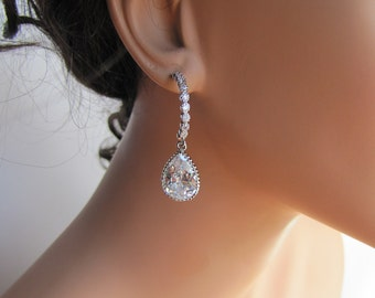 Simple bridal earrings with pear cut cubic zirconia on sterling silver ear post - BE107