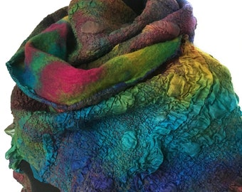 Handmade Nuno Felted Textured Scarf Multicolor Wool Silk Felt OOAK Gift For Her